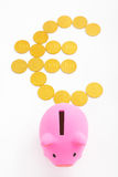 Piggy bank and euro sign Stock Photos