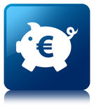 Piggy bank euro sign icon blue square button Royalty Free Stock Photos