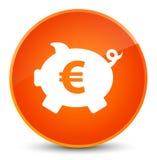 Piggy bank euro sign icon elegant orange round button Royalty Free Stock Photos