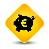 Piggy bank euro sign icon elegant yellow diamond button Royalty Free Stock Image