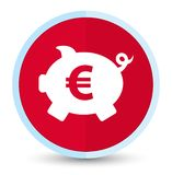 Piggy bank euro sign icon flat prime red round button. Piggy bank euro sign icon isolated on flat prime red round button abstract illustration stock illustration