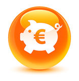 Piggy bank euro sign icon glassy orange round button. Piggy bank euro sign icon isolated on glassy orange round button abstract illustration Royalty Free Stock Photo