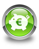 Piggy bank euro sign icon glossy green round button Royalty Free Stock Image