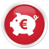 Piggy bank euro sign icon premium red round button Stock Photos