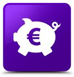 Piggy bank euro sign icon purple square button Royalty Free Stock Images