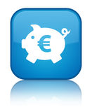 Piggy bank euro sign icon special cyan blue square button Stock Photos