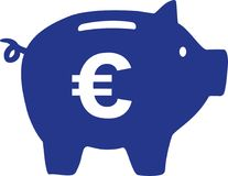 Piggy Bank with euro sign. Vector Stock Images