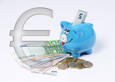 Piggy bank with euro symbol euro coin and bill Royalty Free Stock Photo