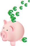 Piggy bank with euro symbol. Pink piggy bank shaped like a pig with euro symbol Stock Photography