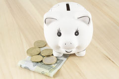 Piggy bank and euro Stock Photos