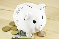 Piggy bank and euro Royalty Free Stock Images