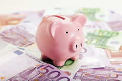 Piggy Bank and European Currency Notes Stock Photos