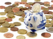 Piggy bank with euros Royalty Free Stock Images