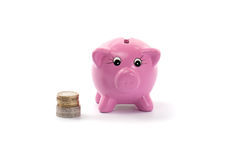 Piggy bank with euros coins. Pink ceramic piggy bank with  euros coins isolated on white Stock Images