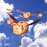 Piggy Bank Exodus. Five Piggy Banks flying away with your investments Royalty Free Illustration