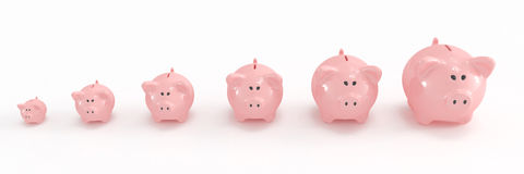 Piggy bank family. High quality 3d image of a piggy bank family going from the smallest to the biggest Royalty Free Stock Photography