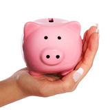 Piggy Bank in Female Hand isolated Stock Images