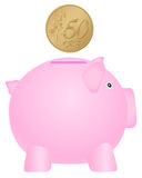 Piggy bank and fifty euro cent. Piggy bank and coin on white background Stock Photo