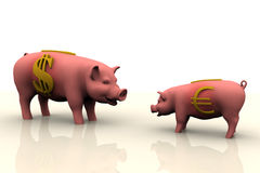 Piggy Bank Finance. Big Piggy Bank With Dollar Currency Symbol Facing Small Piggy Bank With Euro Currency Symbol Stock Photography