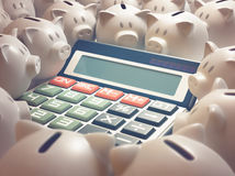 Piggy Bank Finance Calculator. Solar calculator amid several piggy banks. 3D illustration, business and finance concept. Your text on the display Stock Images