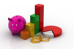Piggy bank with financial chart. In white background Stock Image