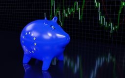 Piggy bank and financial graph on the wall. 3D rendering Stock Photography