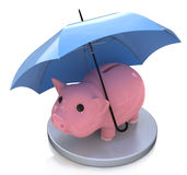 Piggy bank and  Financial insurance concept. Piggy bank and Financial insurance concept in the design of the information related to finance and business Stock Photos