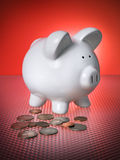 Piggy Bank Financial Invest Savings Coins Money. Piggy Bank Financial Investment Change Savings w/ Coins Money Royalty Free Stock Images