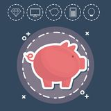 Piggy bank Fintech Investment Financial Internet Technology Conc. Ept vector illustration graphic design Royalty Free Stock Image