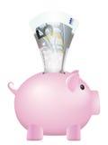 Piggy bank five euro banknote Royalty Free Stock Photo