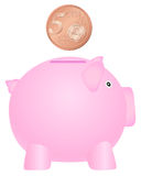 Piggy bank and five euro cent Royalty Free Stock Images