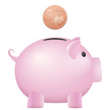 Piggy bank five euro cent. On a white background Royalty Free Stock Image