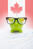 Piggy bank with flag on background - Canada Stock Image