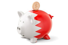 Piggy bank with flag of Bahrain and golden dollar coin. Investme Stock Photo