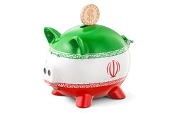 Piggy bank with flag of Iran and golden dollar coin. Investments Stock Photo