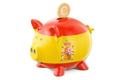 Piggy bank with flag of Spain and golden euro coin. Investments Stock Photo