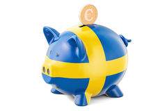 Piggy bank with flag of Sweden and golden euro coin. Investments Royalty Free Stock Images