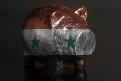 Piggy bank with Flag of Syria stock image