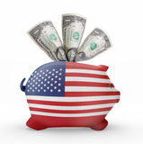Piggy bank with the flag of USA .(series). Side view of a piggy bank with the flag design of USA.(series Stock Photos