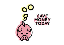Piggy bank flat line icon Stock Photo