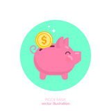 Piggy. Bank. Flat vector illustration Royalty Free Stock Images