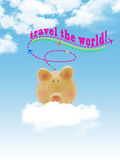 Piggy bank flying on cloud with blue sky. Background stock photos