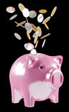 Piggy bank with flying coins going inside 3D rendering. On black background Stock Images
