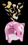 Piggy bank with flying coins going inside 3D rendering. On black background Royalty Free Stock Image