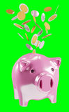 Piggy bank with flying coins going inside 3D rendering. On green background Royalty Free Stock Photo