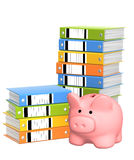 Piggy bank and folders Royalty Free Stock Photos