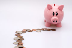 Piggy Bank Following Trail of Coins. Isolated on White Background Royalty Free Stock Photo