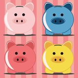 Piggy bank, four pigs Stock Images