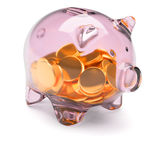 Piggy bank full of coins on white Stock Photo