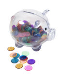 Piggy Bank Full of Colorful Chips Royalty Free Stock Image